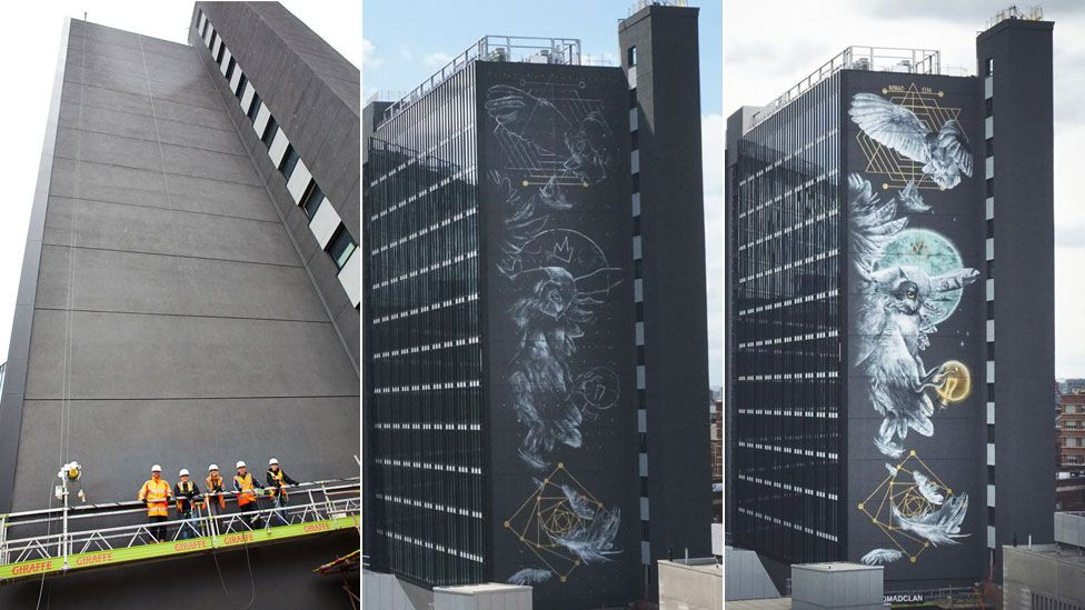 The building over three stages of the mural