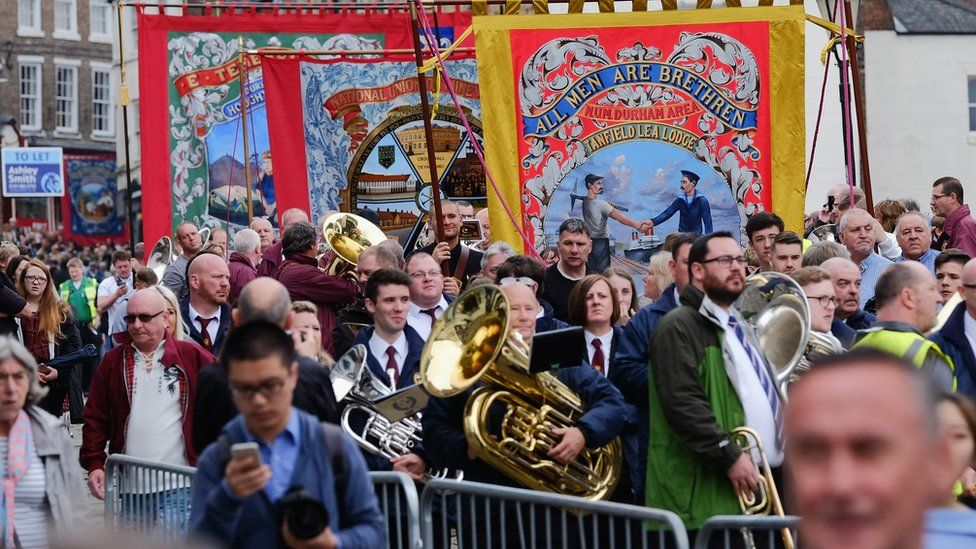 Durham Miners' Gala parade of banners