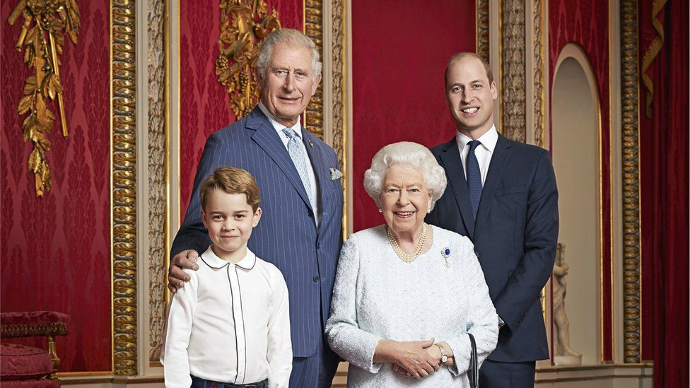 The Queen with the Prince of Wales, the Duke of Cambridge and Prince George