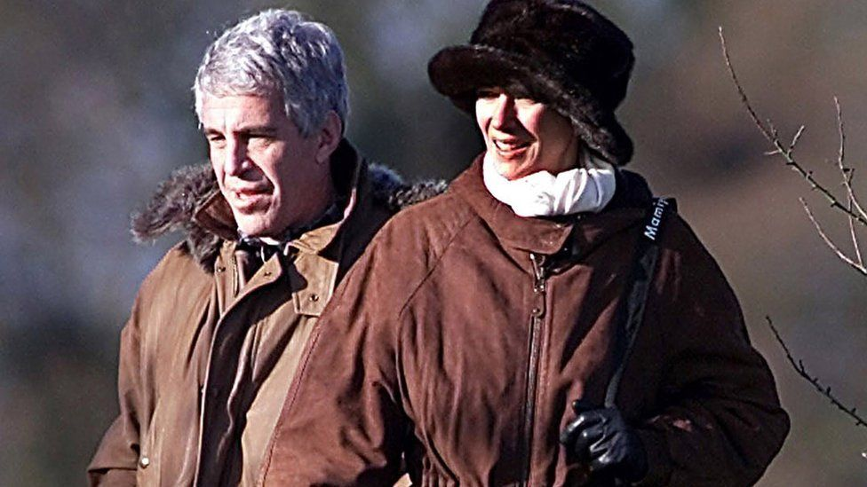 Jeffrey Epstein and Ghislaine Maxwell at Sandringham in December 2000