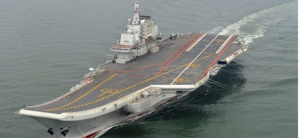 Chinese aircraft carrier Liaoning undergoing sea tests, May 2012