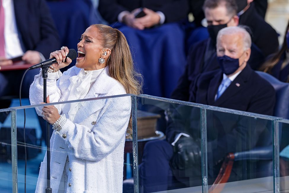 Jennifer Lopez sings during the inauguration of U.S. President-elect Joe Biden