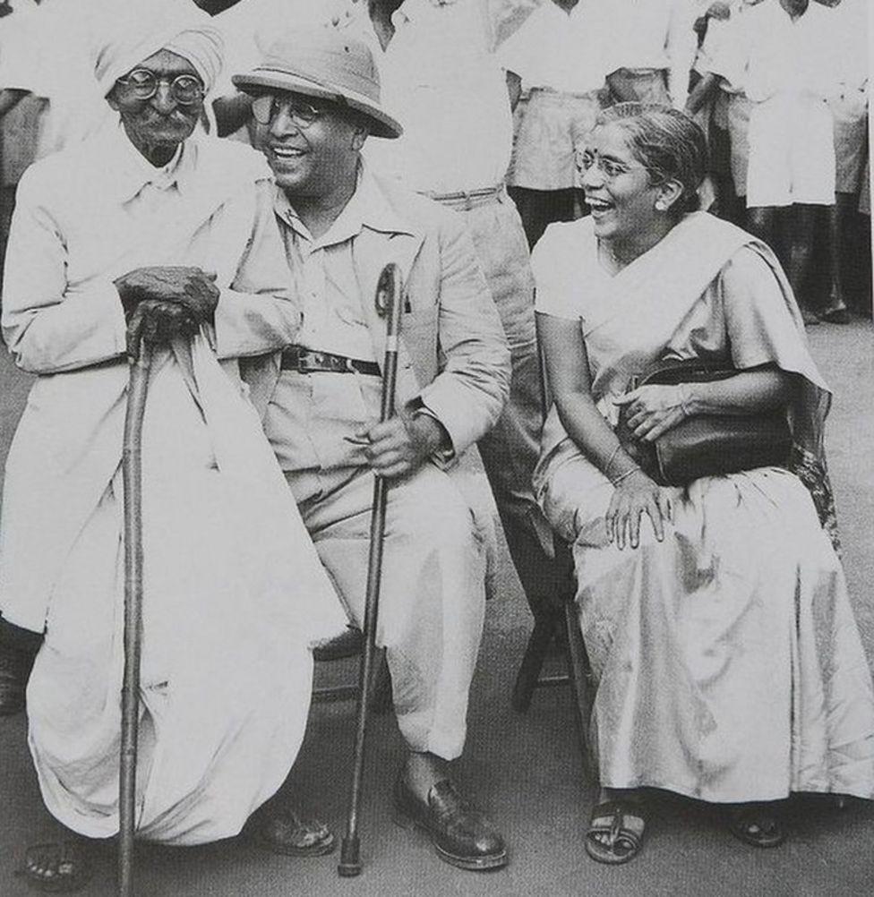Dr Ambedkar with his second wife Mai Ambedkar and activist Rao Bahadur CK Bole (left) in Mumbai