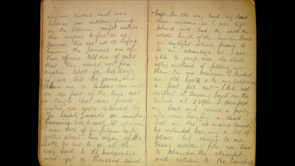 """Pte Robert Keating diary extract: """"Before leaving the Germans, one of their officers told one of ours that they would not fire another shot for two days if we did the same"""""""