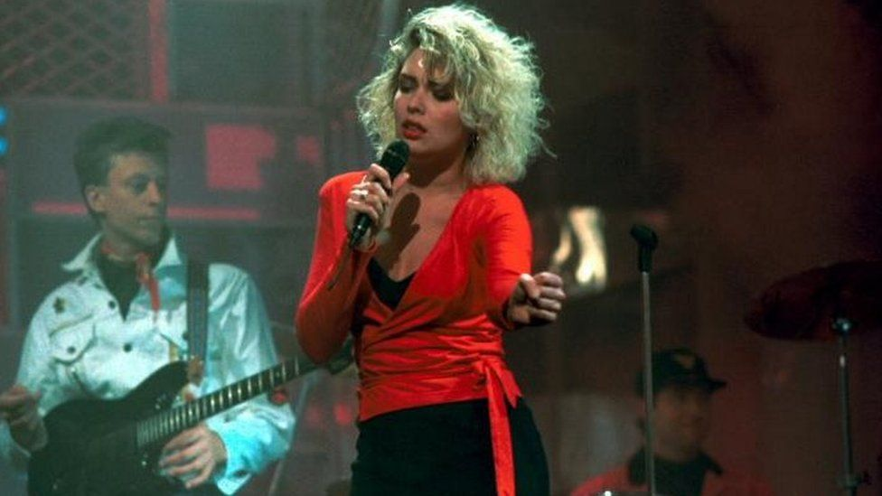 Kim Wilde appearing on the BBC's Top of the Pops