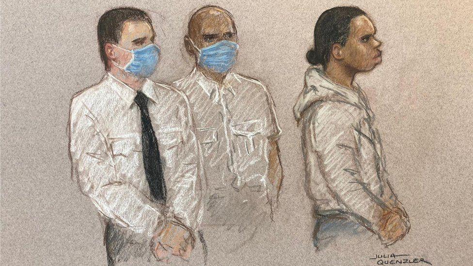 Court sketch of Cameron Deriggs
