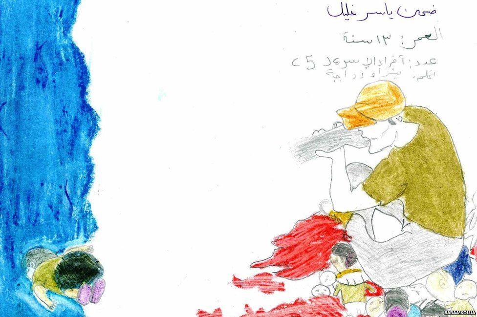 A drawing showing the drowning of Alan Kurdi