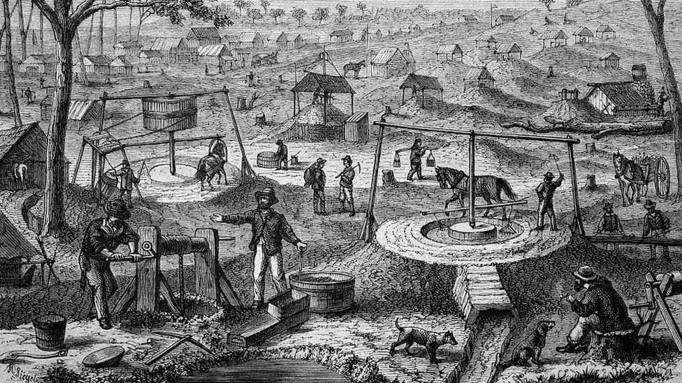 An artist's depiction of a scene from Australia's gold mining era in the 19th Century