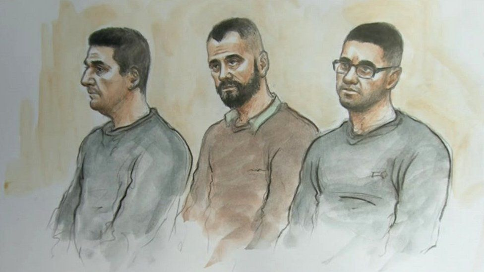 Court sketch of the defendants