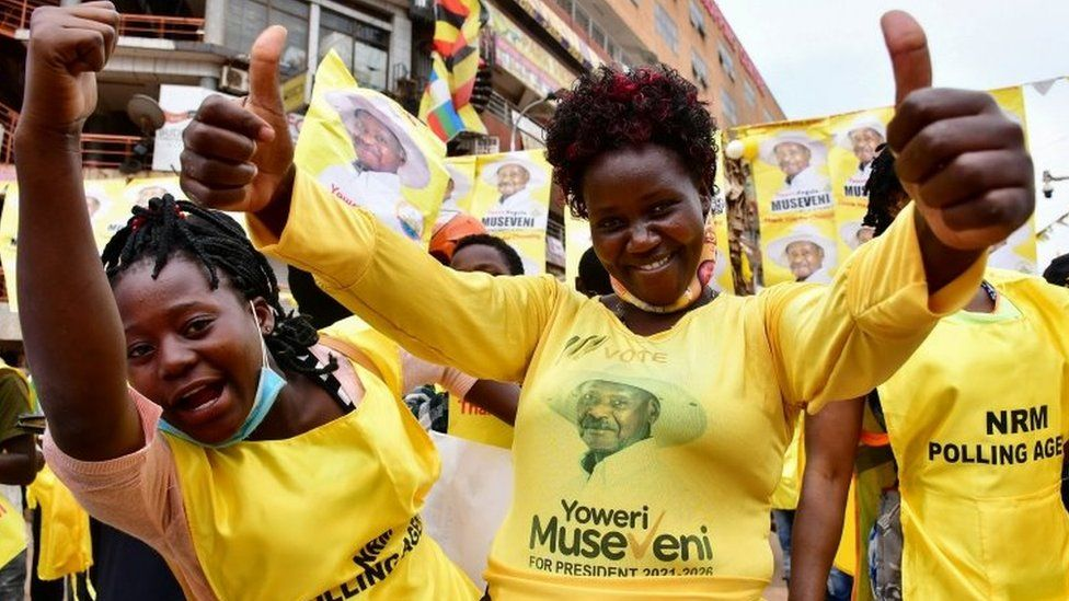 Yoweri Museveni's supporters celebrate in Kampala, Uganda. Photo: 16 January 2021