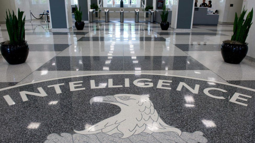 The CIA seal in the lobby of the agency's headquarters in Langley, Virginia