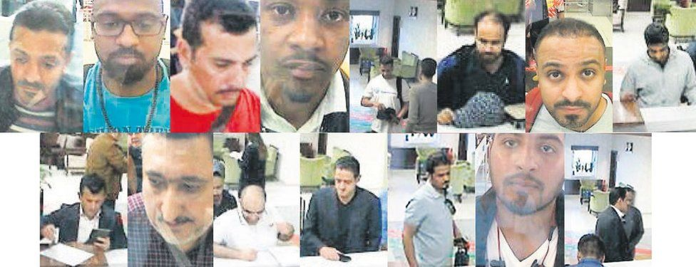 CCTV pictures made available through the Turkish newspaper Sabah allegedly showing Saudi citizens who Turkish police suspect of involvement in the disappearance of Jamal Khashoggi (2 October 2018)