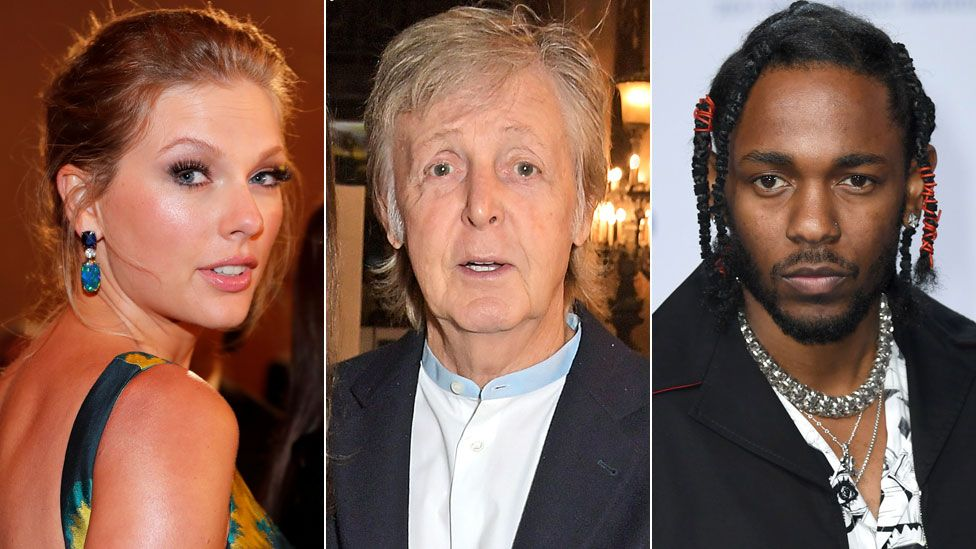 Taylor Swift, Paul McCartney and Kendrick Lamar