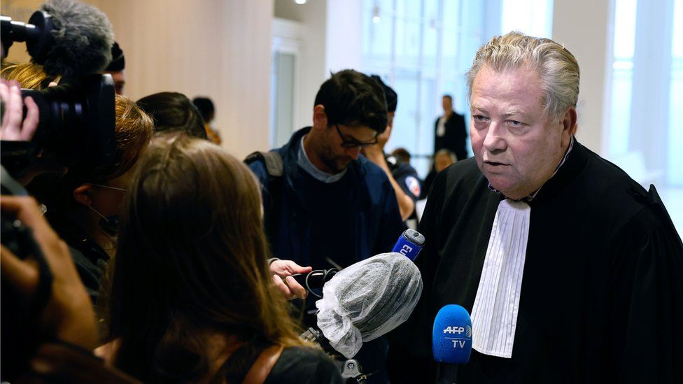 """French lawyer of the victims' families, Olivier Morice, speaks to journalists at the """"Tribunal de Paris"""" courthouse in Paris, 15 June 2020"""