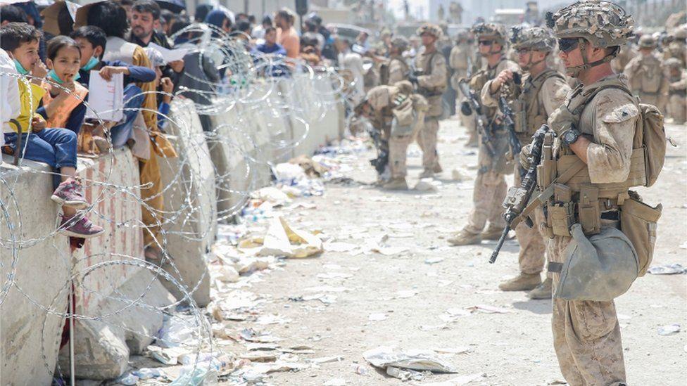 US Marines stand guard at Kabul international airport