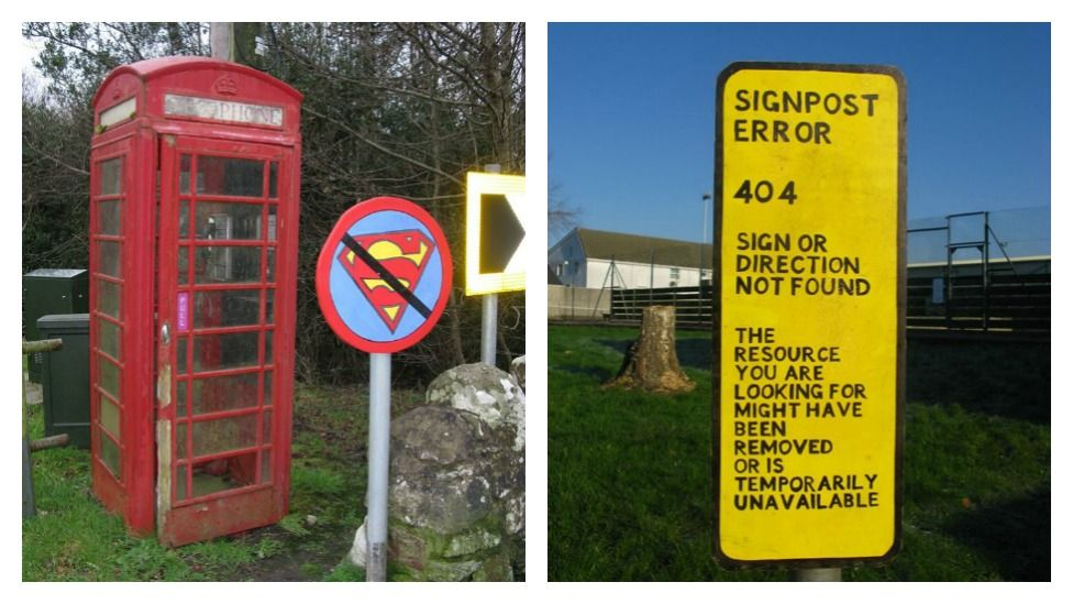 A Telephone box with an anti-Superman sign and a signpost error signs