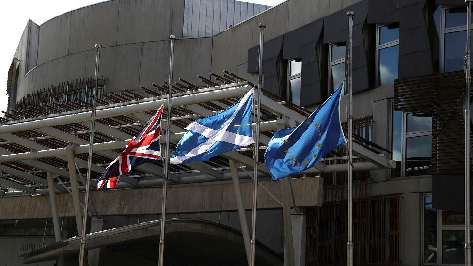 Flags at half mast at Scottish Parliament