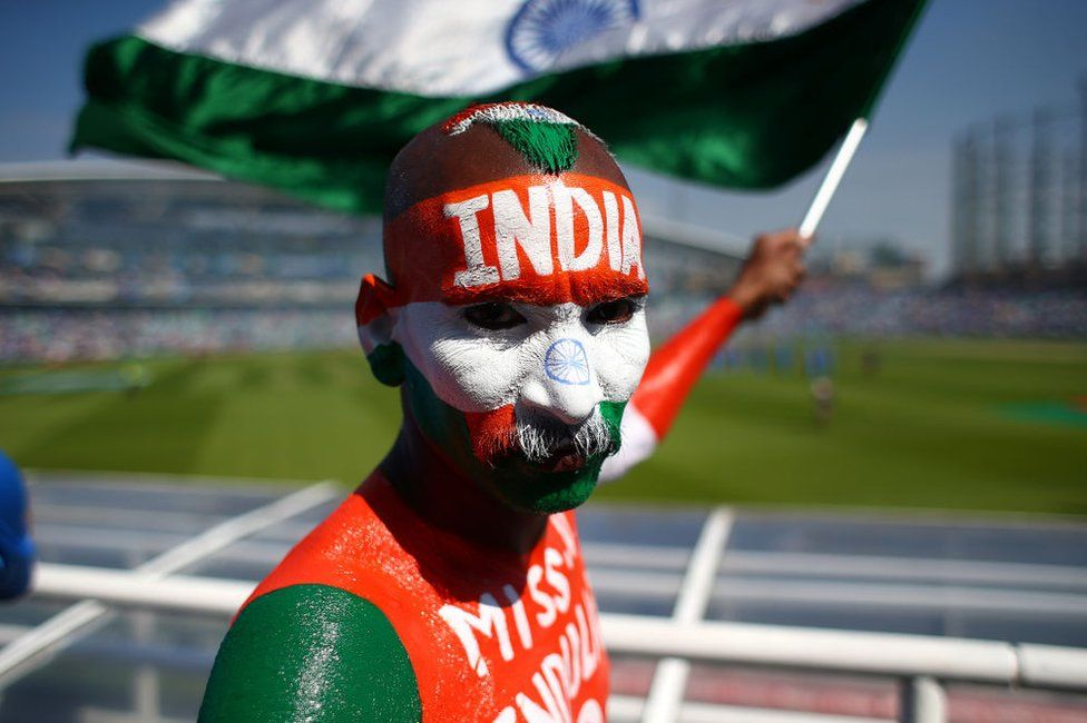 An Indian cricket fan at the Champions Trophy final in London in June 2017
