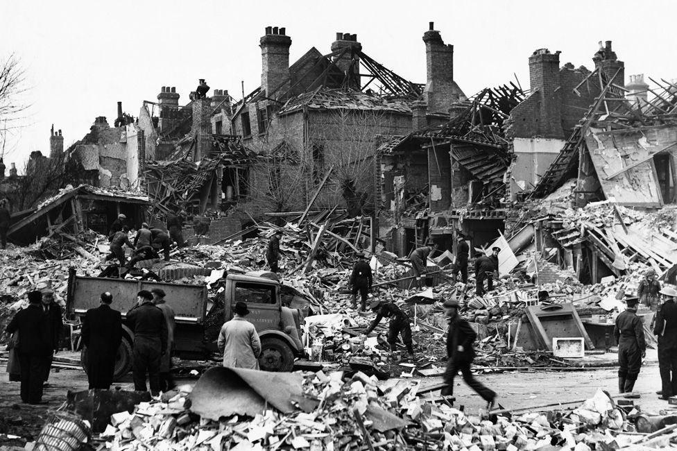 Buildings in Hornsey, north London damaged by German V2 rockets in November 1944.