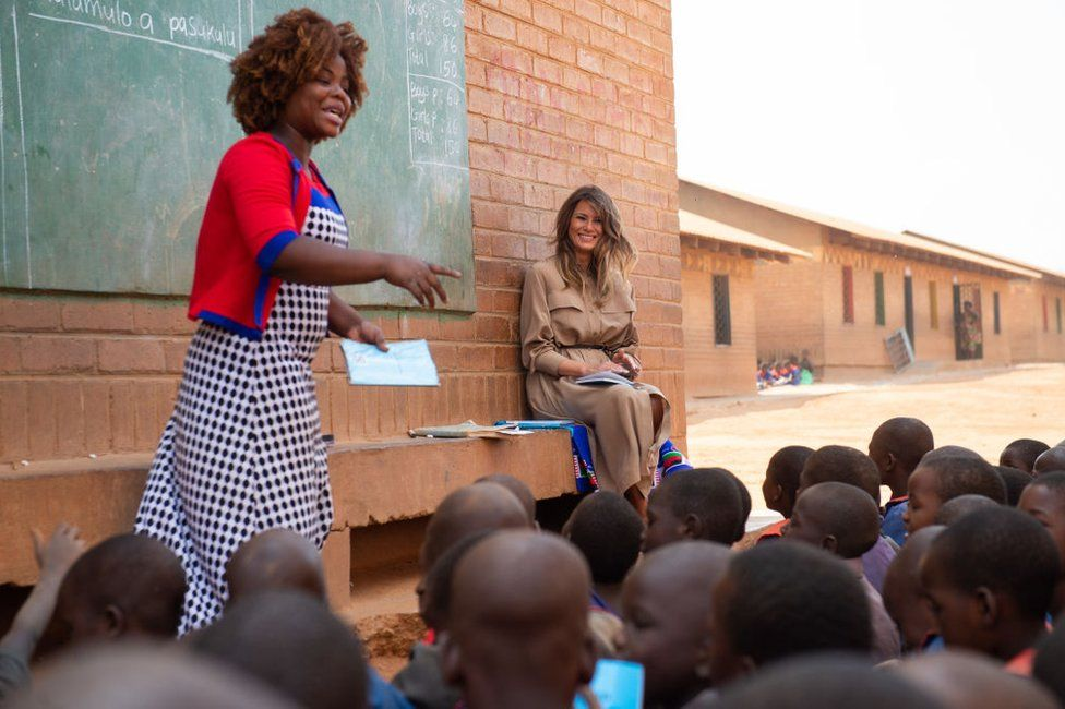 US First Lady Melania Trump visits Chipala Primary School in Lilongwe on October 4, 2018 during a 1-day visit in Malawi, part of her week long trip to Africa to promote her 'Be Best' campaign.
