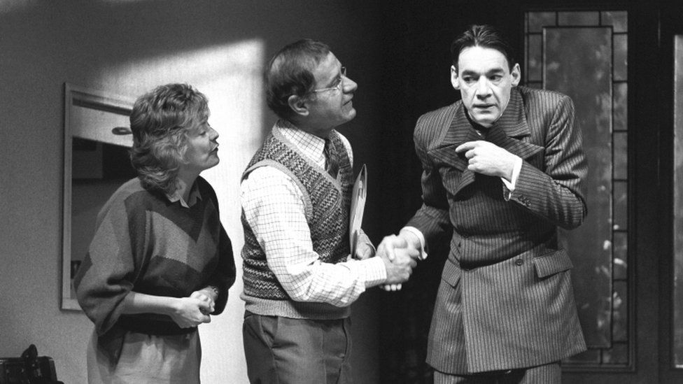 Alison Steadman, Geoffrey Palmer and Roger Lloyd Pack in rehearsal at the Royal Court Theatre for Alan Bennett's play Kafka's Dick.