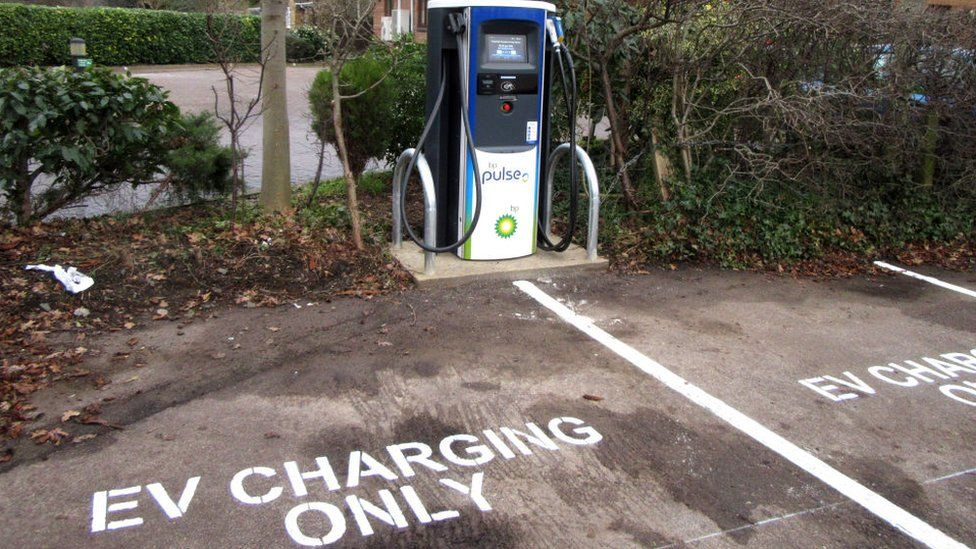 Electric Vehicle charging point at Travelodge hotel car park.