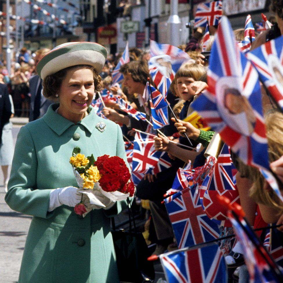Queen Elizabeth II on a walkabout in Portsmouth during her Silver Jubilee tour of Great Britain