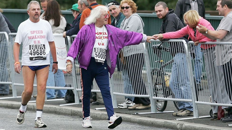 Savile taking part in the Great North Run in 2004