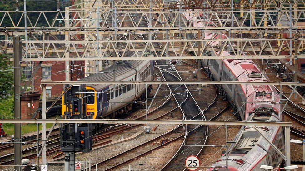 Trains outside Stockport station