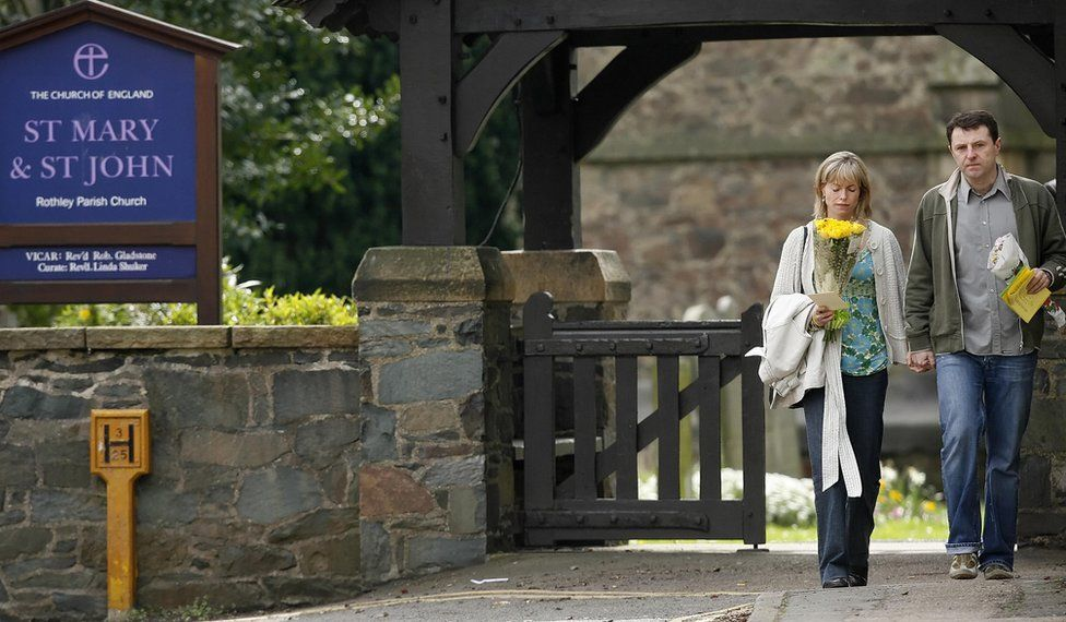 Kate and Gerry McCann leave St Mary and St John Parish Church in the village of Rothley, Leicestershire, following a church service on the day of the first anniversary since the disappearance of their daughter Madeleine