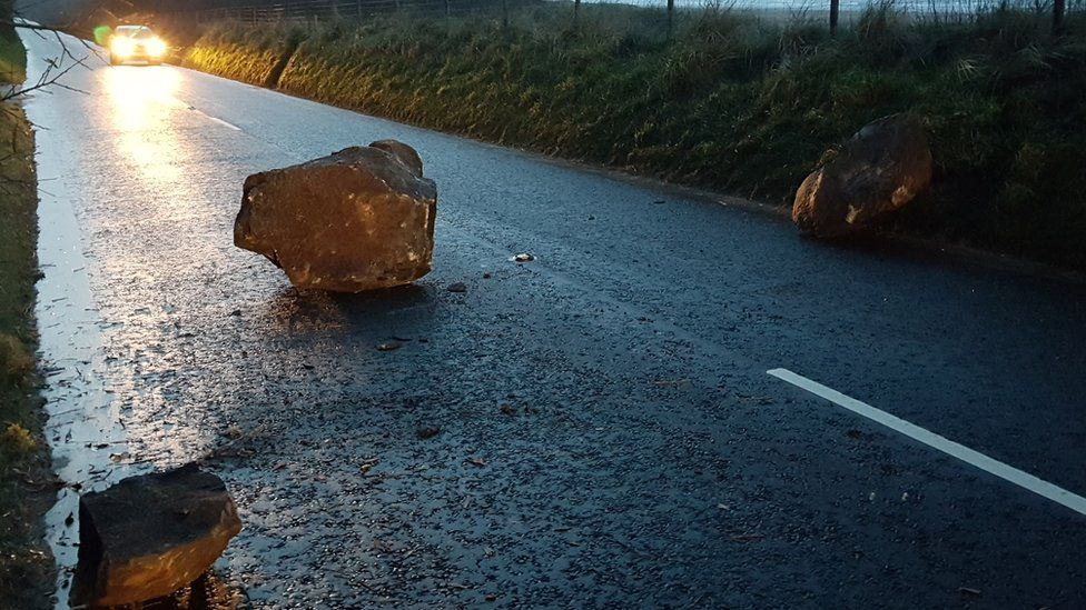 Rocks from Binevenagh Mountain have landed on the road