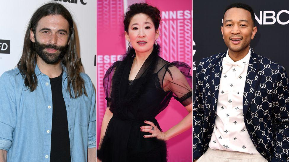 Left to right: Jonathan Van Ness, Sandra Oh and John Legend