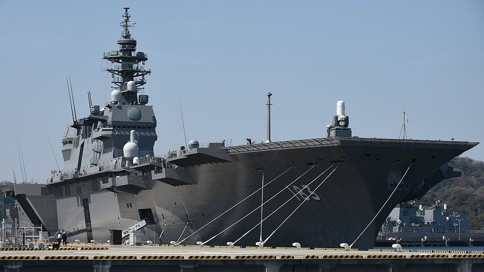 Japan Maritime Self Defence Forces latest warship, the helicopter destroyer Izumo at its base in Yokosuka on March 31, 2015