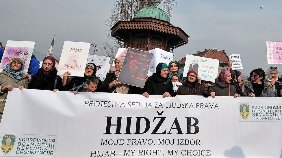 """Hundreds of Muslim women wearing the traditional Muslim headscarf also known as hijab protest in Sarajevo""""s historical center, on February 7, 2016"""