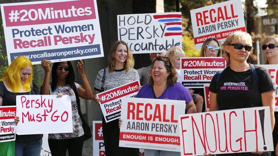 Protesters prepare to deliver a notice of intent to recall Superior Court Judge Aaron Persky at the Santa Clara County Registrar of Voters office in San Jose, California, on Monday, June 26, 2017
