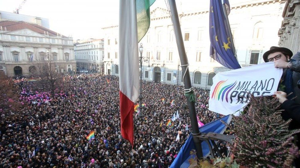 A gay rights demonstration in central Milan, Italy. Photo: 23 January 2016
