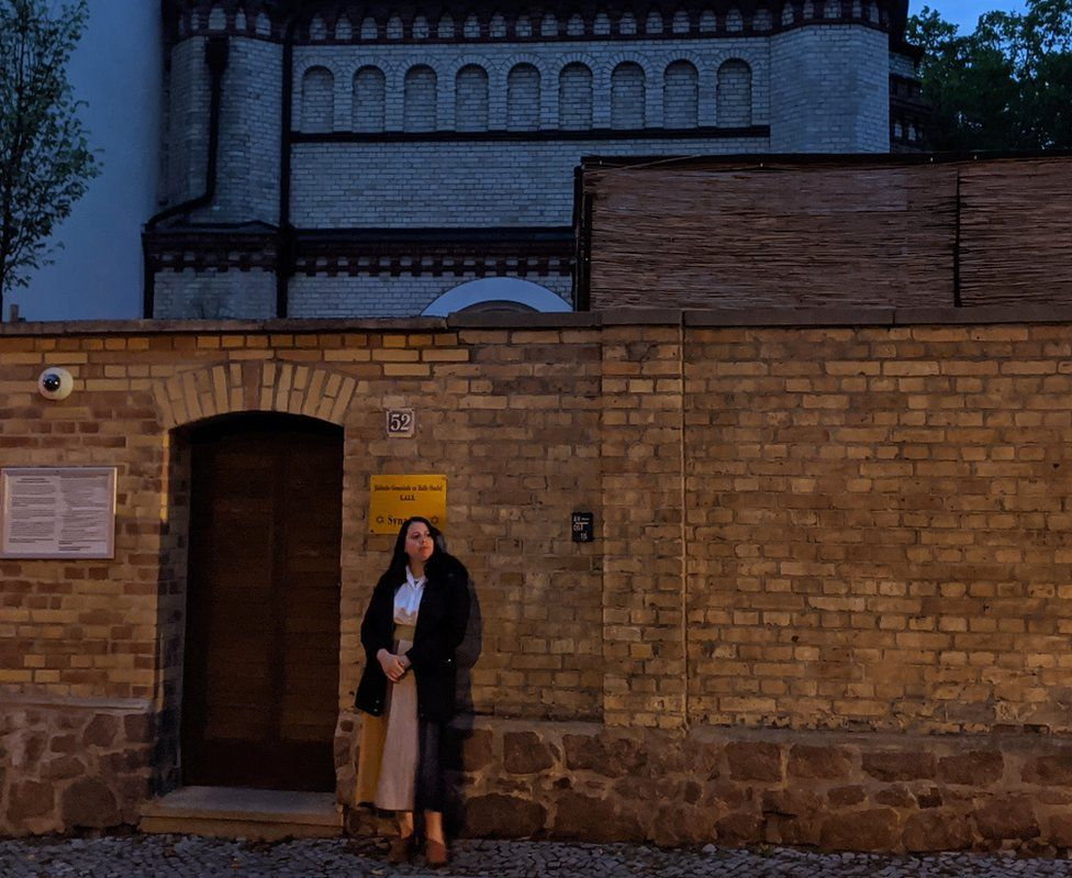 Mollie returned to the synagogue in Halle last month as the trial continued in Magdeburg
