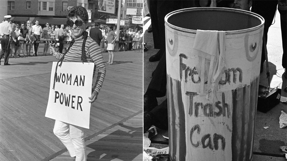 Female protester and the Freedom Trash Can