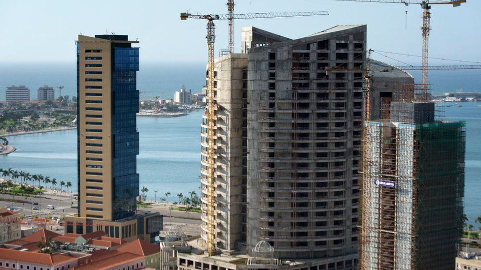 A view of unfinished high-rise buildings in the city of Luanda on November 10, 2018, in Angola