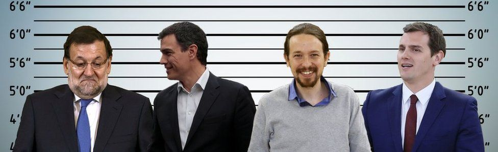 A composite image showing Mariano Rajoy, Pedro Sanchez, Pablo Iglesias and Albert Rivera set against an ID parade