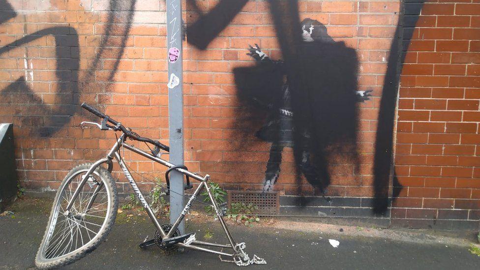 Graffiti on artwork