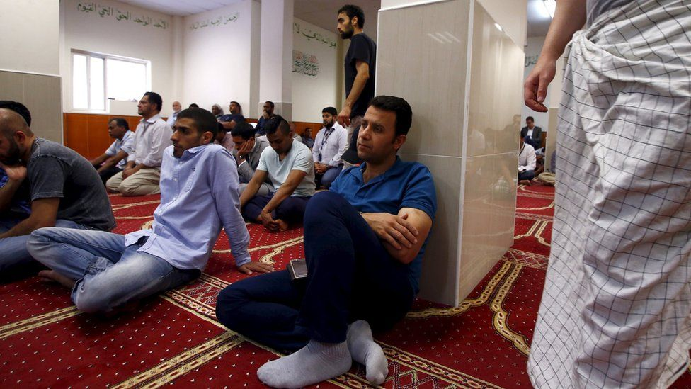 Worshippers at Parramatta mosque