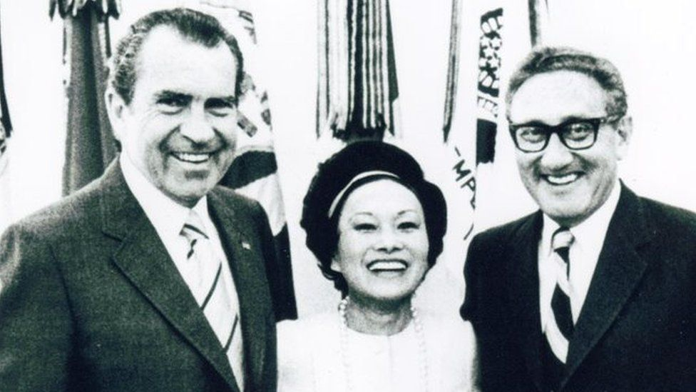 Richard Nixon, Anna Chennault and Henry Kissinger in 1972