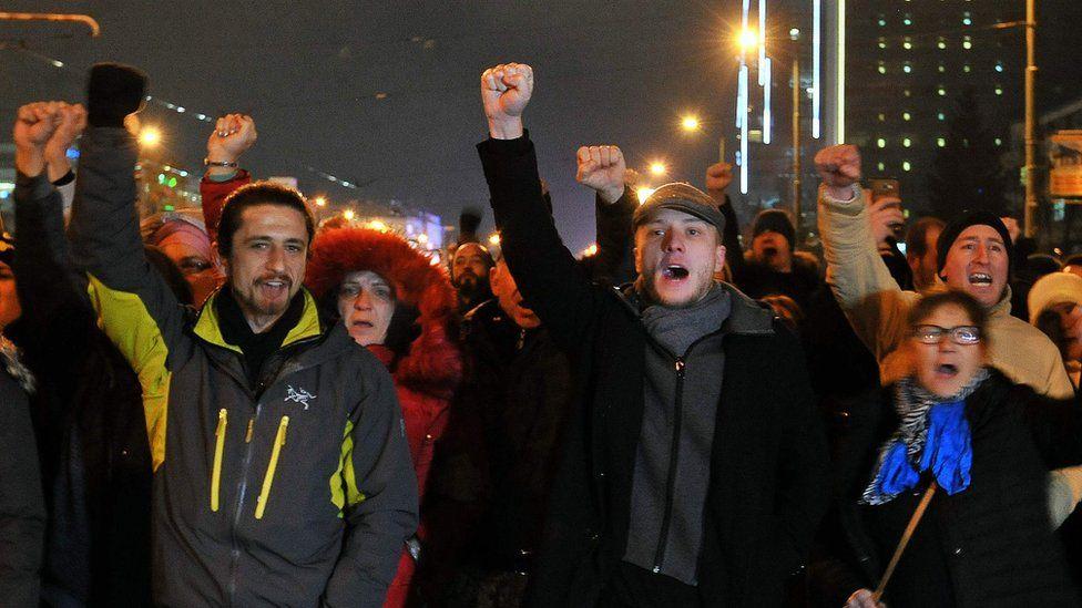 "Protesters demanding ""Justice for David"" in Banja Luka (25 December)"