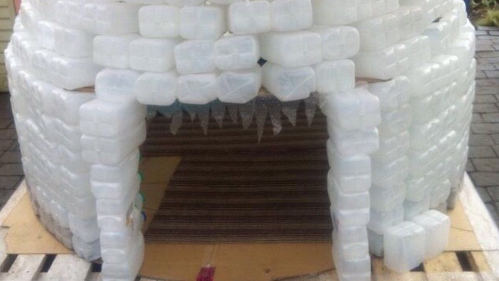 Igloo made from 700 milk cartons
