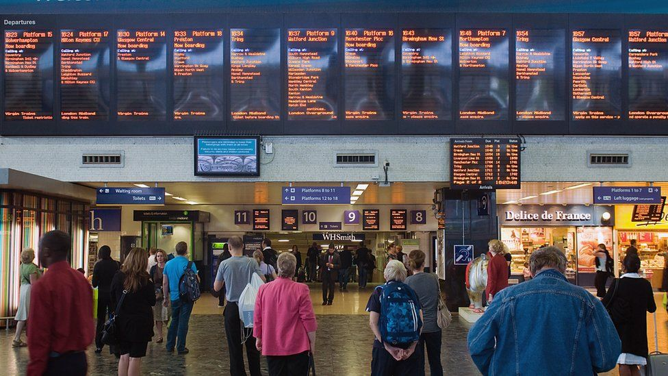 The departure screens at London Euston train station
