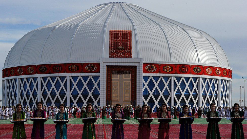 A yurt (traditional dwelling of nomadic Turkmen people) in the city of Mary, Turkmenistan