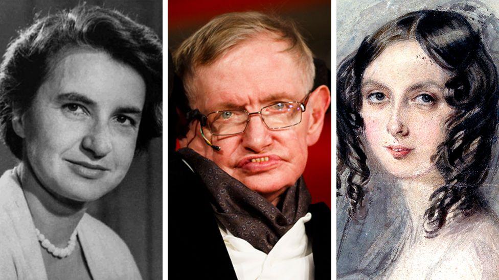 portraits of Rosalind Franklin, Stephen Hawking and Ada Lovelace
