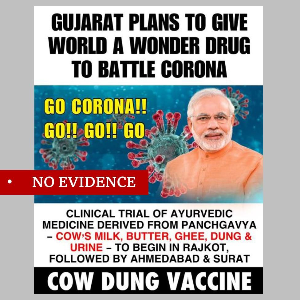 "Facebook post featuring image of Indian PM Narendra Modi about plans for a vaccine based on cow dung. Labelled ""no evidence"""