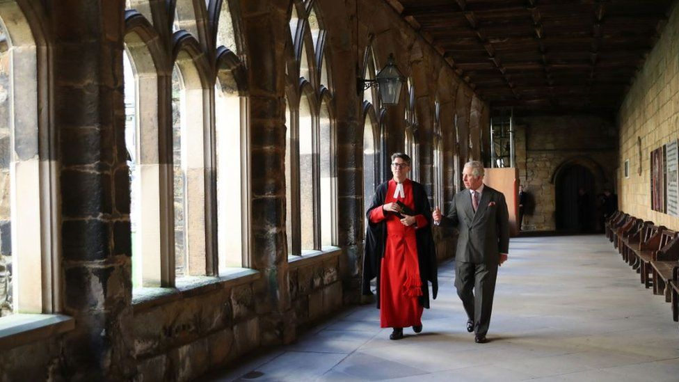 Prince Charles in the cloister of Durham Cathedral